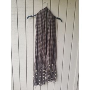 Chan luu emboidered checkered scarf